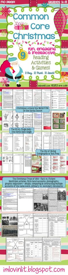 Download, print, and you're ready to teach! This product includes 9 fun, challenging, and engaging reading activities that all have a Christmas holiday theme and are aligned to Common Core. This packet includes lessons that are positive, upbeat, inspiring, and fun! You will find that these activities are ready to teach tomorrow (or today!) and include everything you need, including complete teacher's notes, content material, and all answer keys!