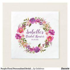 Purple Floral Personalized Bridal Shower