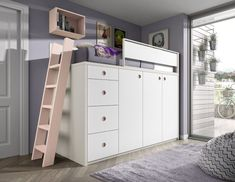High bed with wardrobes and drawers - Muebles Ros - Meubles Ros Room Design Bedroom, Small Room Bedroom, Home Decor Bedroom, Room Decor, Bed With Wardrobe, Bed In Closet, Loft Bunk Beds, Kids Bunk Beds, Kids High Beds