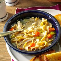 Cold-Day Chicken Noodle Soup Recipe -When I was sick, my mom would make me this heartwarming chicken noodle soup. It was soothing when I had a cold, but this soup is a bowlful of comfort on any chilly day. —Anthony Graham, Ottawa, lllinois