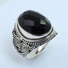 Tribal Design Ring Size US 6.75 Genuine BLACK ONYX Gemstone 925 Sterling Silver #SunriseJewellers #Fashion