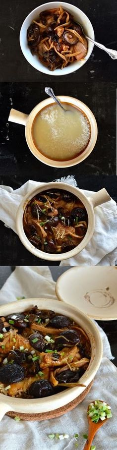 Chicken and Mushroom Clay pot rice is a Chinese home-cooked comfort food with Chinese black mushrooms, wood ears, lily flowers and the silkiest chicken! Crockpot Recipes, Chicken Recipes, Cooking Recipes, Cantonese Food, Chicken Rice, Asian Cooking, Chinese Food, Asian Recipes, Food Inspiration