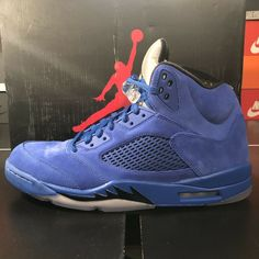 "cb0d8dda38b6 Nike Air Jordan 5 Retro ""Blue Suede"" 136027-401 Men s Size 12.5"