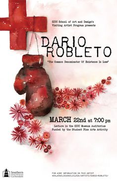 SIU Visiting Artist Dario Robleto poster by Jennifer R Smith Studio