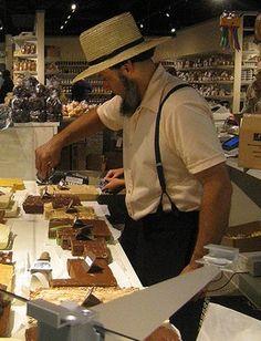 Amish man selling fudge.