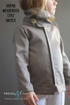 LOVE the collar on this. NEW Urban Weekender Coat pattern and tutorial 12M - 5T PDF pattern boy girl modern zipper jacket cowl. $6.00, via Etsy.