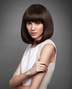 Thick Bangs, Short Hair With Bangs, Long Bangs, Short Hair Styles, Vintage Housewife, Hair Brained, Face Framing, Long Bob, Brunette Hair