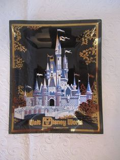 Vintage Walt Disney World Cinderella Castle Glass Trinket Tray Jewelry Dish