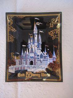 Vintage Walt Disney World Cinderella Castle Glass Trinket Tray Jewelry Dish