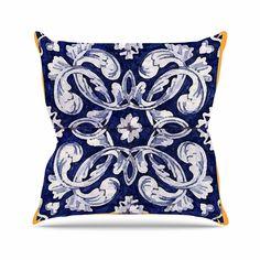 """Oriana Cordero """"Lisboa"""" Blue Yellow Outdoor Throw Pillow"""