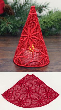 Filigree Tree with Poinsettias (Lace)