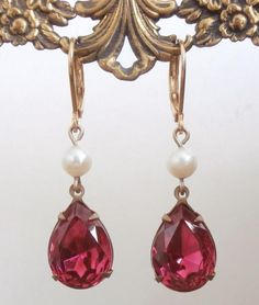 Vintage Fuchsia Pink Swarovski Crystal and Pearl Drop Earrings by StarliteDesigns ~ #Vintage #Jewelry #VintageJewelry #Fashion #Style #Bridesmaids #Swarovski #Weddings #Brides #Crystal #Pearls #Design #Designer #ART #ECO #GREEN #ETSY #Handmade
