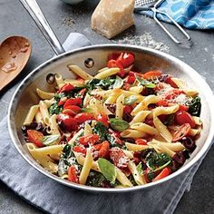Incorporate grape tomato, olive, and spinach into your pasta for a healthy dish