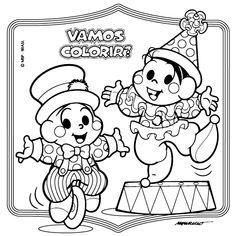 desenho Monica e Cebolinha Vestidos de Coelho, colorir