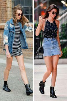 3 regras de moda que não são verdadeiras. como usar bota de cano curto. bota sem salto. bota com vestido. bota com saia jeans. quebre 3 regras de moda. mitos de moda. www.oolhaisso.com