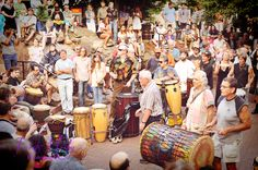 Asheville Drum Circle every Friday in Pritchard Park