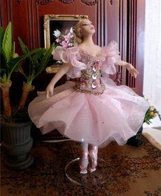 """Dollhouse Miniature 1:12 Scale Artisan Made Dollhouse Doll """"Alexandra""""."""