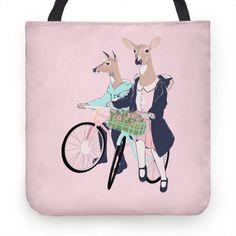 Neighborhood Bike Gang #bike #cycling #biking #trail #travel #deer #doe #feminist #feminism #phone #illustration #girlgang