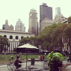 A peaceful morning in Bryant Park.