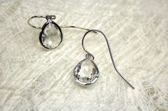 Ohrringe Glas klar rhodiniert Glas Ohrring von PascalPinther