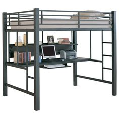 Karlstad Loft Bed and Workstation - This will make a practical addition to a child's modern bedroom. The lofted full-size bed features full length guard rails for safety and built-in side ladders for convenient access. Underneath, there is a desk with a keyboard tray and large shelves. $1089