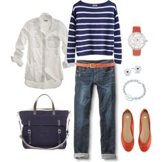 Nautical Navy and Orange, created by bluehydrangea on Polyvore
