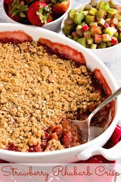 Strawberry Rhubarb Crisp ~ Crunchy Streusel Crust Layered with Strawberries and Rhubarb then topped with more Struesel! ~ www.julieseatsand...