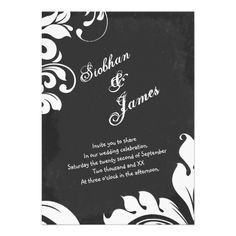 Chalkboard And Fancy Floral Wedding Announcement Chalkboard and floral detail wedding invite .. suitable for both civil ceremony / wedding invitations - modern wedding announcements .. totally customizable wedding announcements from Ricaso
