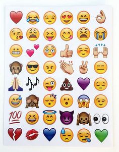 Emoji Stickers - Most Popular - 6 Sheets - Great for Party Favors, Gifts, Cell Phones.