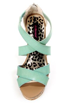 57d97a86171 Dollhouse Precise Mint Cork Platform Wedge Sandals Platform Wedge Sandals