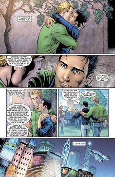 DC Comics has revealed that their superhero Alan Scott (the first Green Lantern) is gay.   He is shown here with his boyfriend Sam.