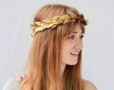 Unisex Gold Leaf Crown - Gold Leaf Headband, Greek Goddess, Grecian Headpiece, Leaf Circlet, Toga Costume, Greek Headband, Leaf Crown, Tiara