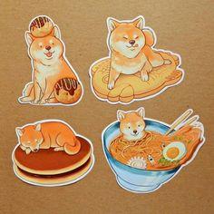 •Shiba inu food stickers by: @dliok•