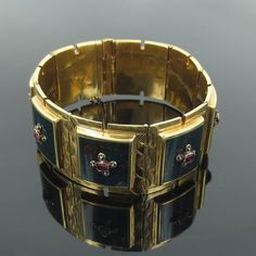 Antique French Victorian 1.50ct Ruby & Bloodstone 18K Gold Wide Cuff Bracelet