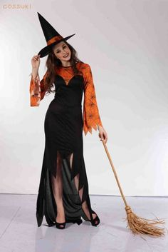 Orange and black with broom and hat Maxi dress Halloween costume