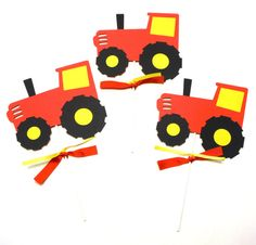 Items similar to Red and Yellow Tractor Farm Party Themed Party Centerpiece Sticks Set of 3 on Etsy Farm Party Decorations, Party Centerpieces, Party Themes, Tractors, Rocks, Yellow, Unique Jewelry, Handmade Gifts, Red