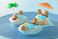 Nothing is as sweet as a day at the beach—except these adorable cupcakes that bring a sunny day at the shore straight to your child's party.
