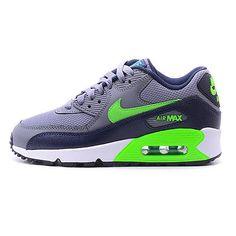 Nike Air Max 90 Mesh Gs Big Kids 724824-013 Grey Green Shoes Boys Youth Size 4.5