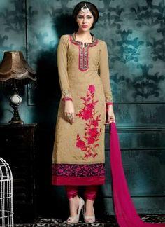 Magenta Beige Embroidery Work Santoon Georgette Designer Churidar Suit http://www.angelnx.com/Salwar-Kameez/Churidar-Suits