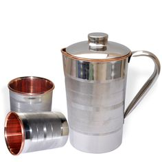 Amazon.com | DakshCraft Drinkware Set Jug with 2 Tumblers Steel Copper Kitchenware from India: Mixed Drinkware Sets