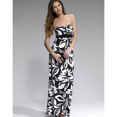 Lipsy Printed Bandeau Maxi Dress ($76) ❤ liked on Polyvore