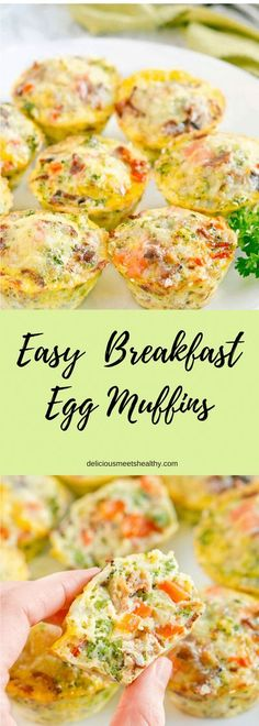 Easy Breakfast Egg Muffins - Perfect grab and go breakfast! So delicious! Bake scrambled eggs & veggies at 375 for 20 min. via @NeliHoward Best Egg Recipes, Best Breakfast Recipes, Easy Healthy Recipes, Brunch Recipes, Easy Meals, Breakfast Ideas, Egg Dinner Recipes, Drink Recipes, Healthy Eats
