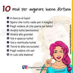 """""""Mi piace"""": 1,308, commenti: 10 - Learning Italian online (@impariamoitaliano) su Instagram: """"BUONA FORTUNA! Vi presentiamo 10 modi per dire """"buona fortuna!"""": In bocca al lupo! Spero che…"""" Learning Italian, Ecards, Memes, Instagram, E Cards, Learn Italian Language, Meme"""