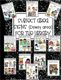 Frameable prints to place near the 000s, 100s, 200s, 300s, 400s, 500s, 600s, 700s, 800s, 900s, and biographies in your library. Clip art gives examples of what patrons might find in those areas. I just uploaded an almost total revision (7/25/17). I haven't done the horizontal version yet but when I do if you'd prefer