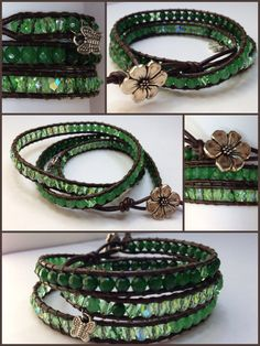 Aventurine wrap bracelet ▪Aventurine stones ▪Semi precious stone ▪Swarovski light green ▪Green agate ▪Brown leather ▪Sterling flower button