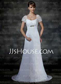 Wedding Dresses - $208.99 - Empire Scoop Neck Court Train Satin Lace Wedding Dress With Beadwork (002000214) http://jjshouse.com/Empire-Scoop-Neck-Court-Train-Satin-Lace-Wedding-Dress-With-Beadwork-002000214-g214