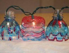 luci di Natale riciclando bottiglie di plastica