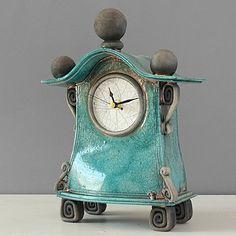 quirky ceramic mantel clock - medium - turquoise by ian roberts