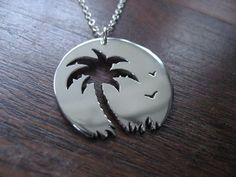 Palm tree Sunset Birds Pendant Necklace by GorjessJewellery, £42.00