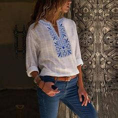 Style Casual Pattern Floral Detail Printed Sleeves Type length sleeve Collar V neck Material Linen Season Summer,Fall Occasion Daily life,Going out Size(cm) Bust Sleeve Length S 90 19 104 M 94 20 105 L 98 21 106 XL 102 22 107 106 23 108 Ethnic Print, Shirt Sale, Casual T Shirts, Collar Shirts, Types Of Sleeves, Sleeve Styles, Printed Shirts, T Shirts For Women, Long Sleeve